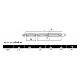 HI MOTIONS Rygiel poziomy ze stali nierdz. dł245mm